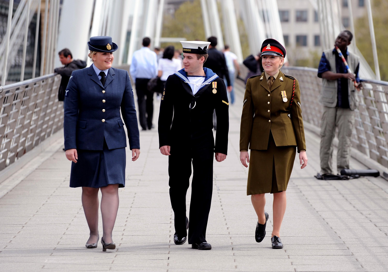 Tri-Service Personnel Saluting
