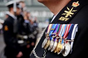 Royal Navy Sailor Wearing Medals at a Parade