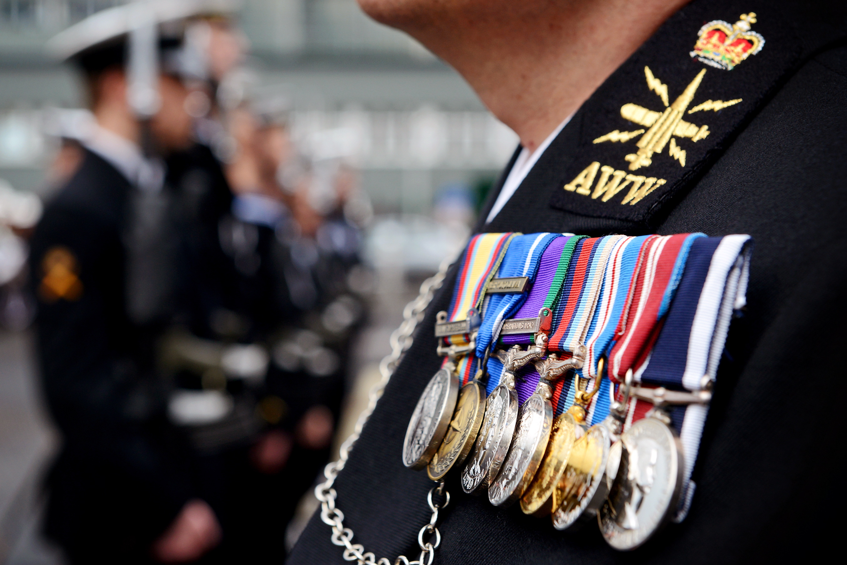 Royal Navy Sailor Wearing Medals at a Parade