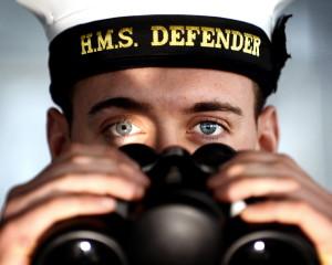 Sailor with Binoculars on HMS Defender
