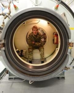 Royal Naval Reservist Diver in a Transfer Under Pressure Module